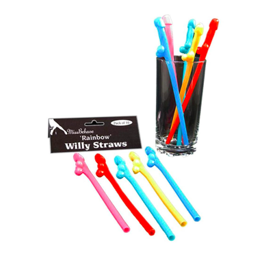 Rainbow Willy Straws - 10 Pack