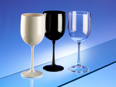 Premium Italian Designed Polycarbonate LARGE Black and White Wine Glasses 17oz/485ml x 4