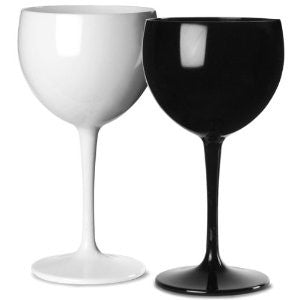 Premium Italian Designed Black and White Polycarbonate Gin Glasses x 4