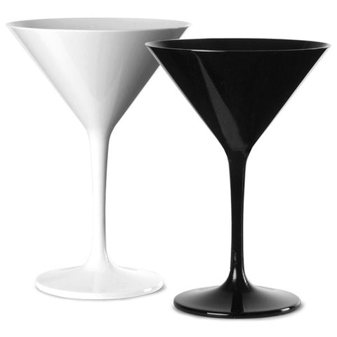 Premium Italian Designed Black and White Polycarbonate Martini Glass x 4