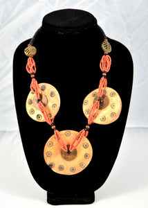 Three Disc Carved Bone Coral Necklace - Inspired Luxe