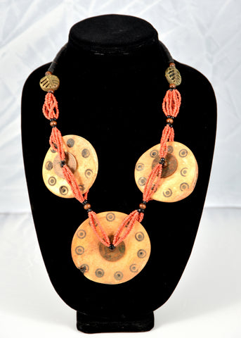 Three Disc Carved Bone Coral Necklace