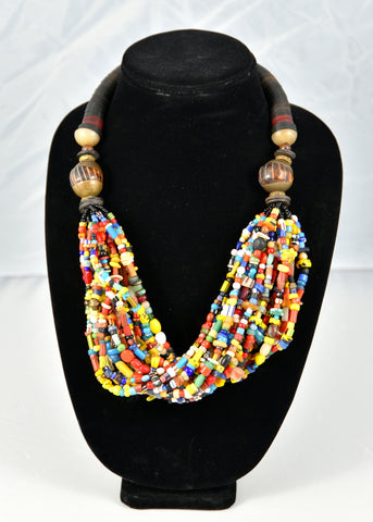 Multi-strand Glass Bead Necklace (with red accent)