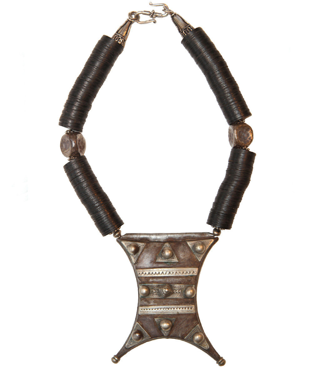 Antique Tuareg with Heshi Beads and Silver Accents - Inspired Luxe
