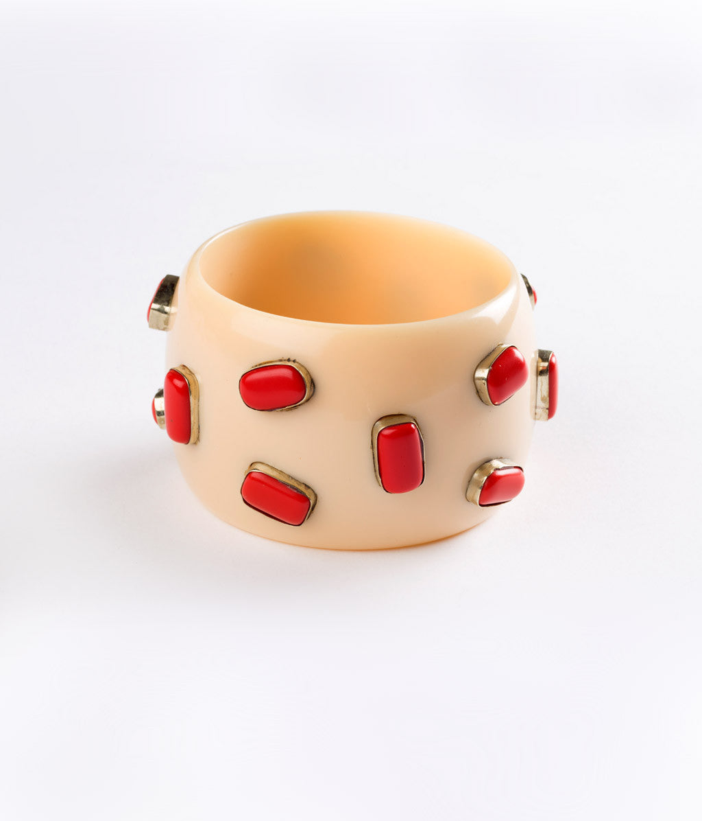 Bangle (Ivory Cream with Coral) - Inspired Luxe