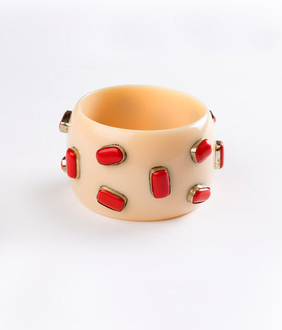 Bangle (Ivory Cream with Coral)