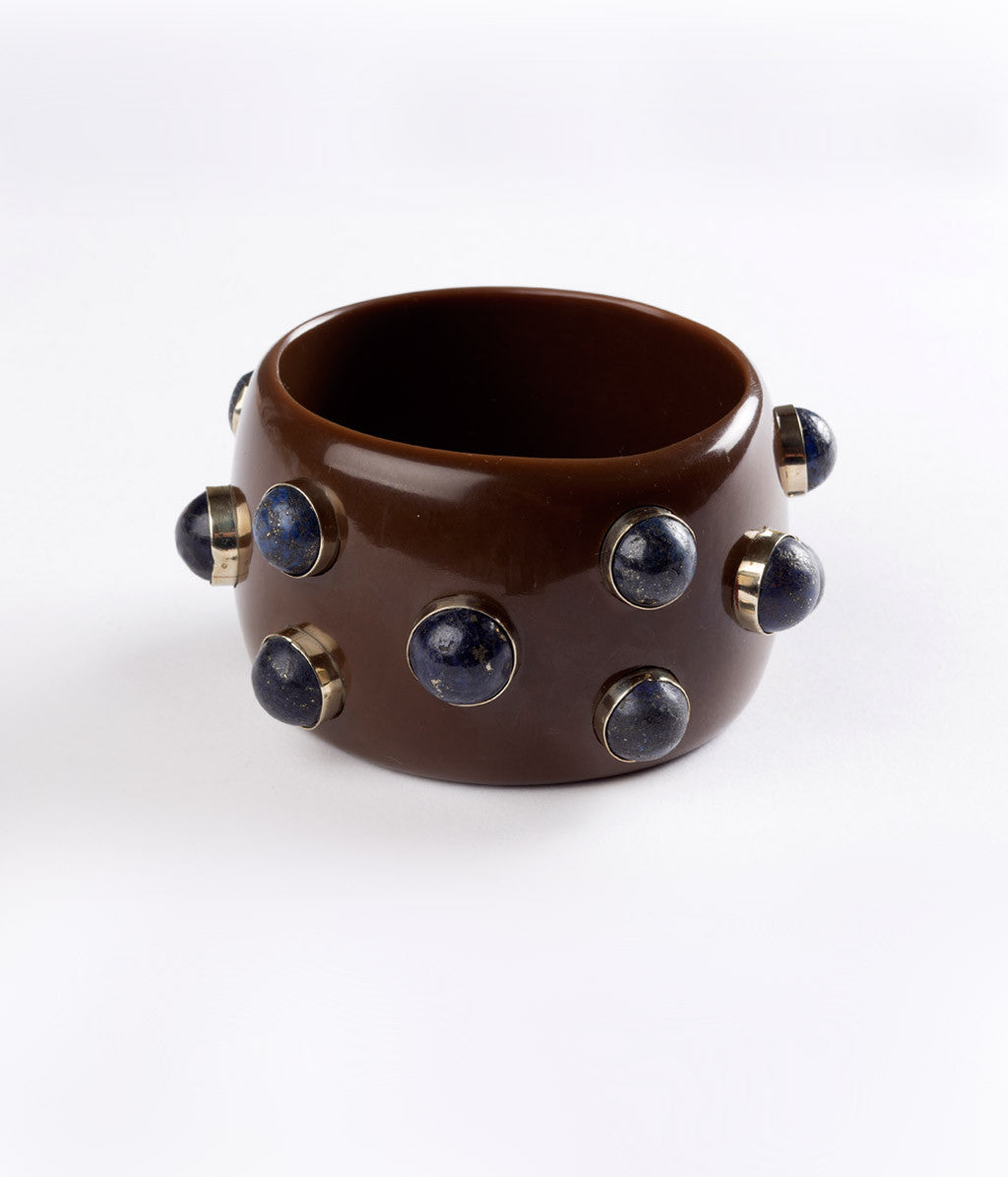Bangle (Brown Carob with Lapis) - Inspired Luxe