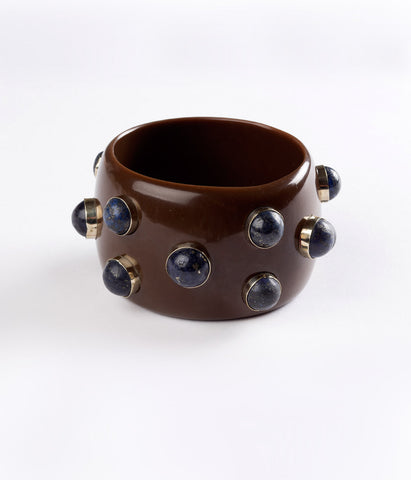 Bangle (Brown Carob with Lapis)