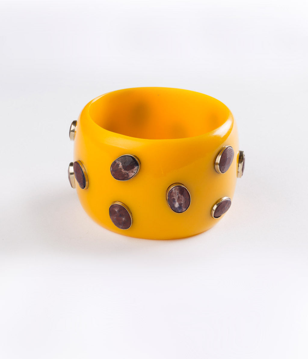 Bangle (Yellow Canary with Agate) - Inspired Luxe