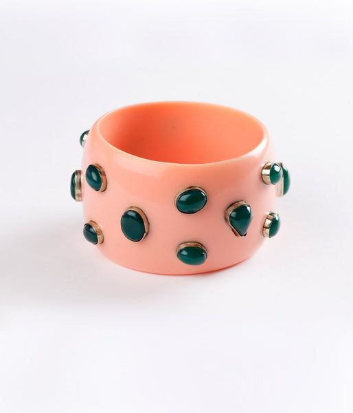 Bangle (Pink Salmon with Green Onyx) - Inspired Luxe
