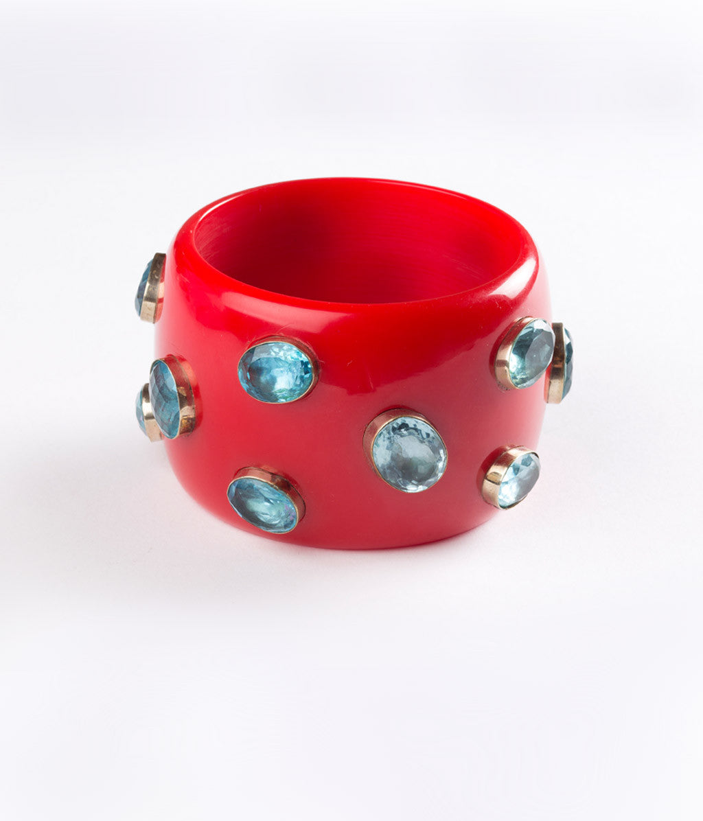 Bangle (Red Tomato with Sky Blue Hydro Quartz) - Inspired Luxe
