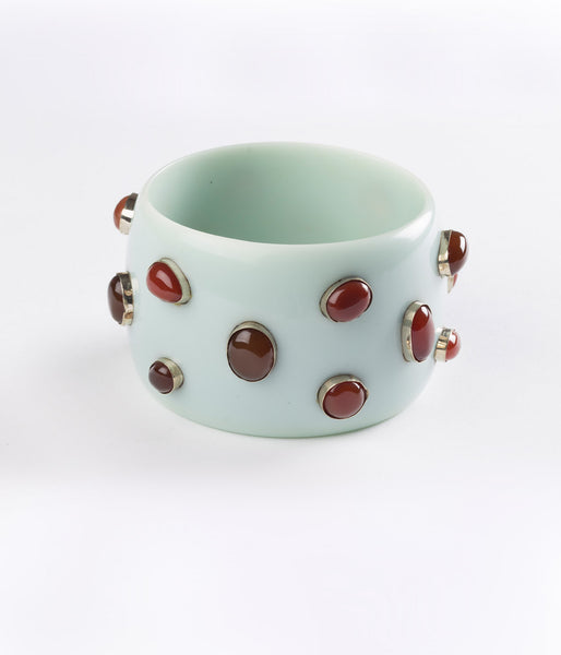 Bangle (Green Sage with Carnelian) - Inspired Luxe