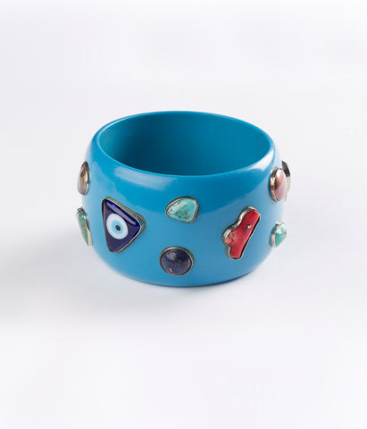 Bangle (Blue Cerulean with Mixed Gems)