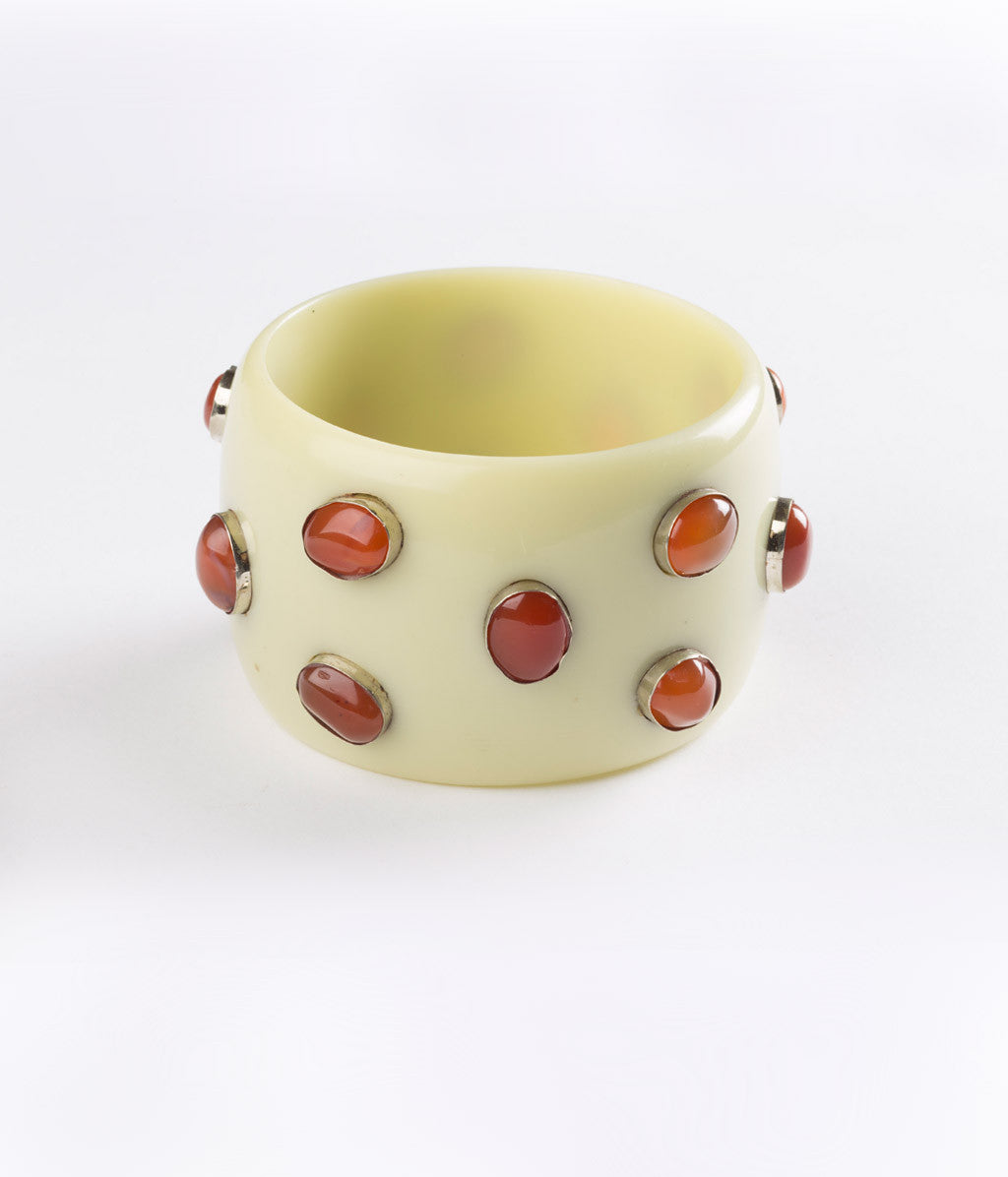 Bangle (Green Pear  with Carnelian) - Inspired Luxe