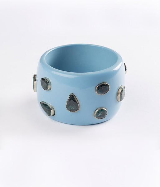 Bangle (Blue Sky with Emerald) - Inspired Luxe