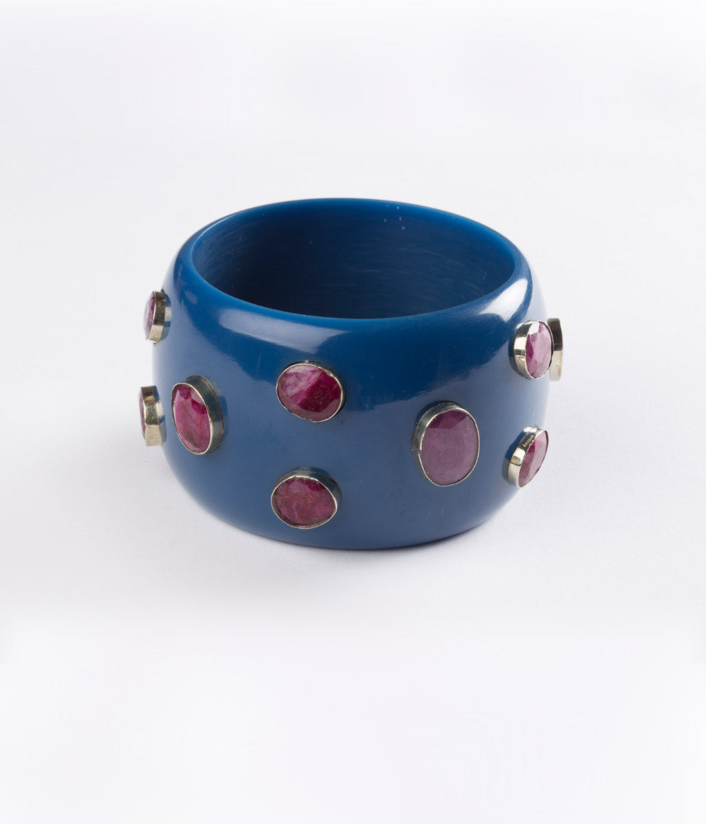 Bangle (Blue Blueberry with Ruby Corundum) - SOLD OUT - Inspired Luxe