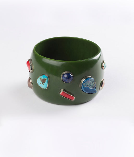 Bangle (Green Seaweed with Mixed Gems) - Inspired Luxe