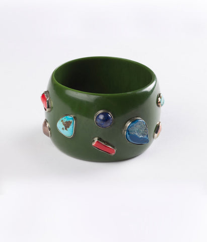 Bangle (Green Seaweed with Mixed Gems)