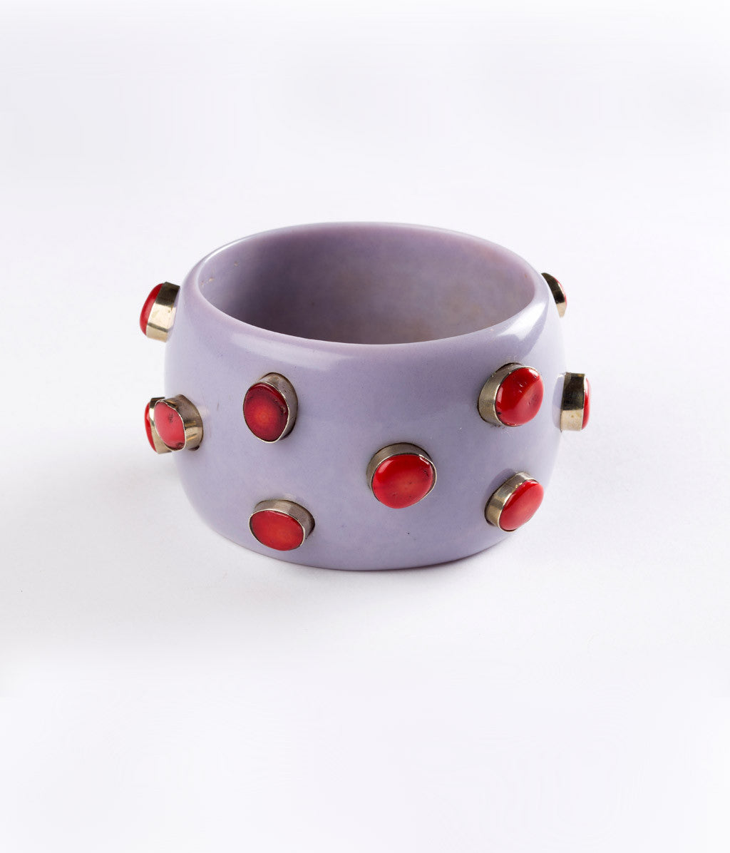 Bangle - Purple Lilac Heather with Coral - Inspired Luxe