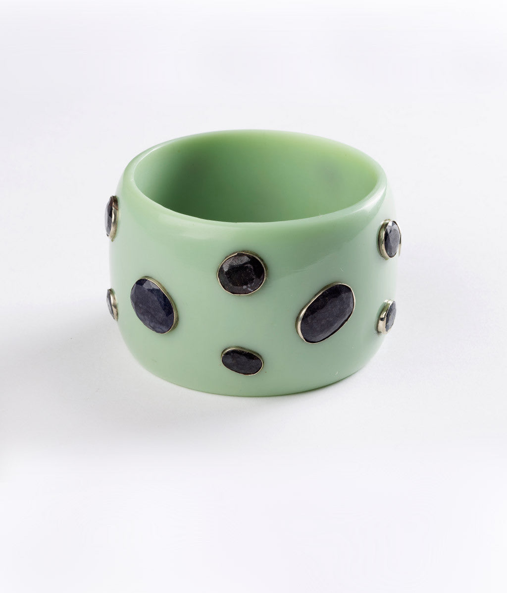 Bangle (Green Seafoam with Blue Sapphire) - Inspired Luxe