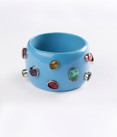 Bangle (Blue Cerulean with Multi-Colored Hydro Quartz)