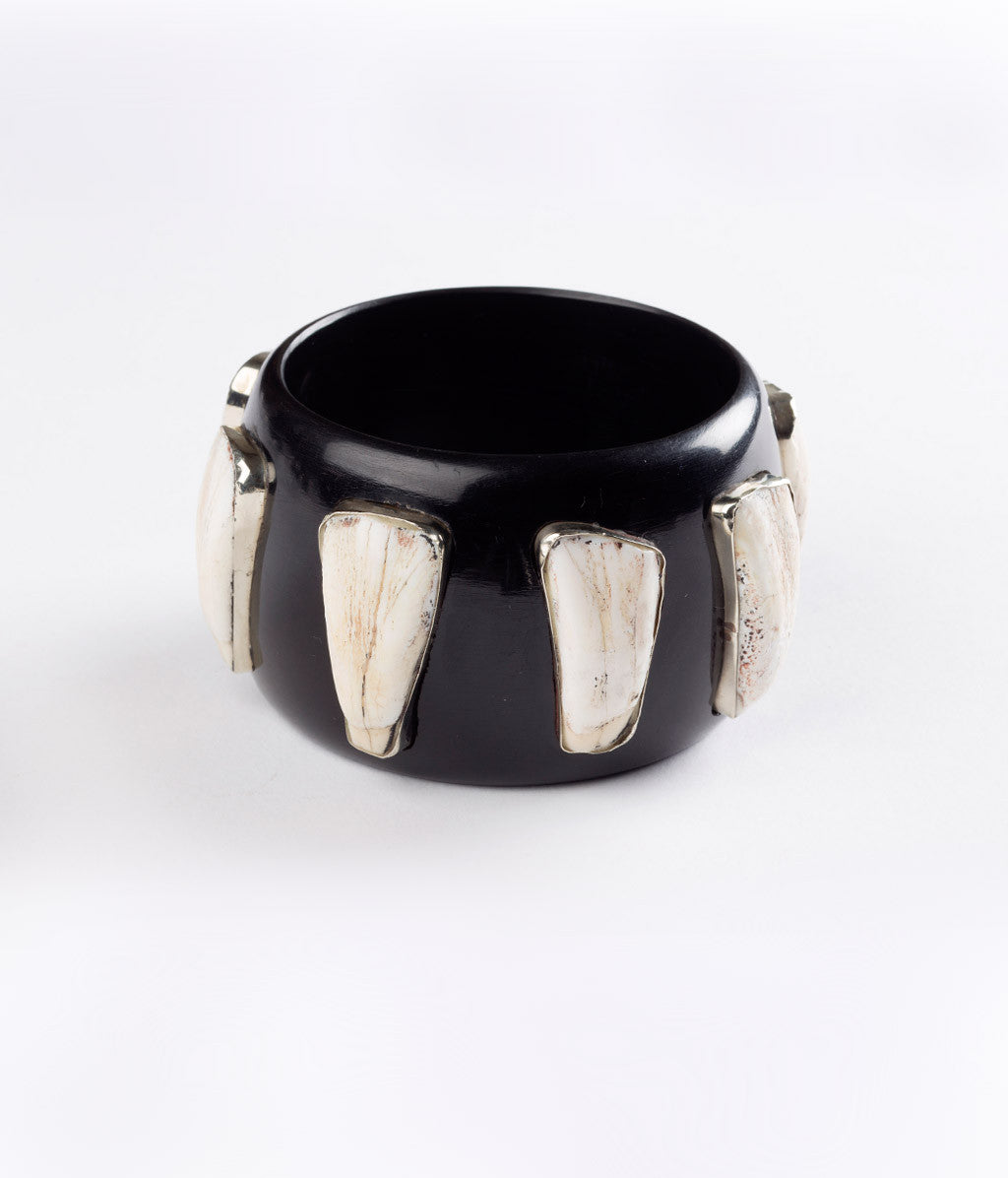 Bangle (Black Raven with Buffalo Teeth) - Inspired Luxe