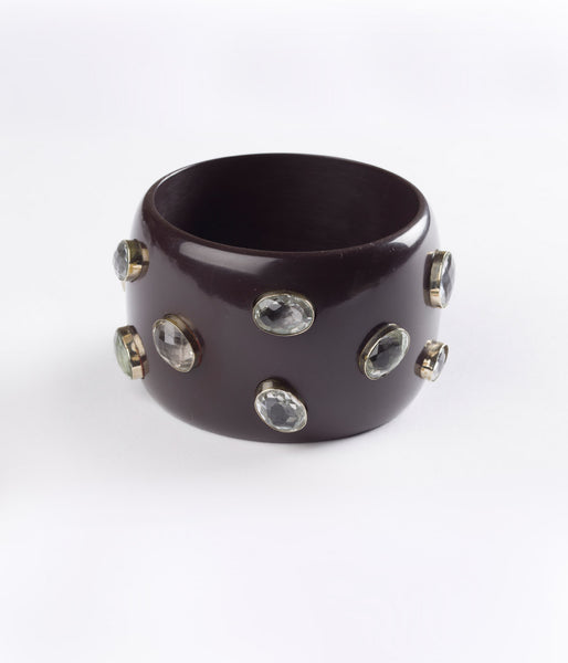 Bangle (Brown Dark Chocolate with Crystal Hydro Quartz) - Inspired Luxe