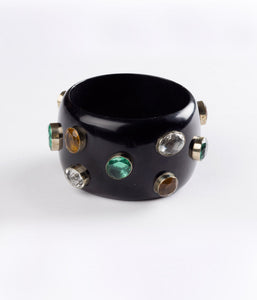 Bangle (Black Raven with Hydro Quartz Multi-Colored) - Inspired Luxe