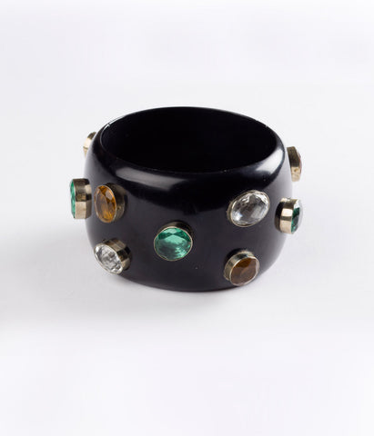 Bangle (Black Raven with Hydro Quartz Multi-Colored)