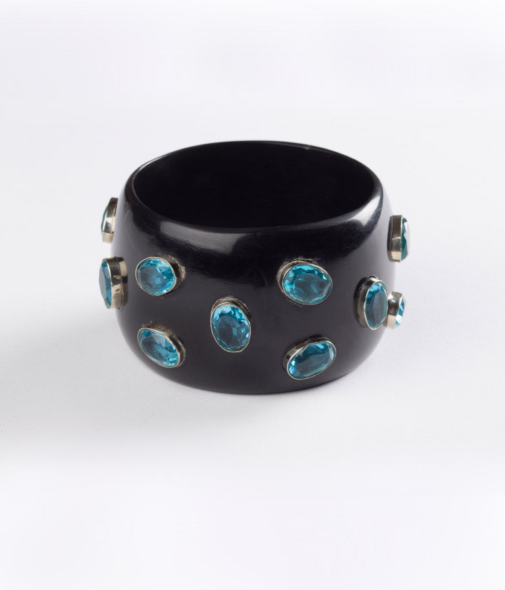Bangle (Black Raven with Hydro Quartz Blue ) - Inspired Luxe