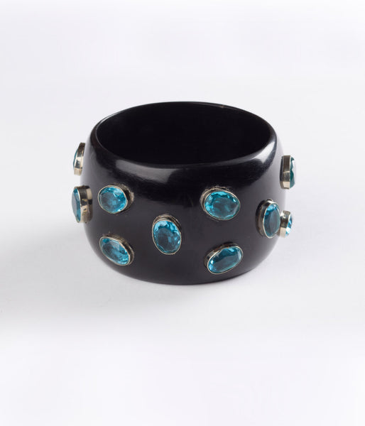 Bangle (Black Raven with Hydro Quartz Blue ) – Inspired Luxe
