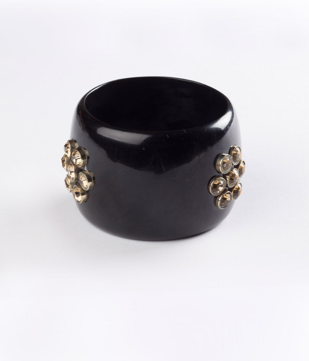 Bangle (Black Raven with Cubic Zirconia) - Inspired Luxe