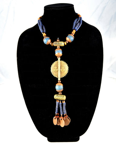 Sun Disc Brass Bead Necklace