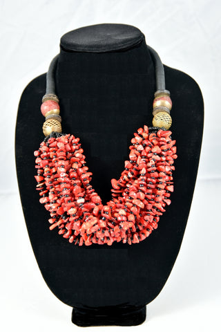 Red Multi-strand Coral Bead Necklace