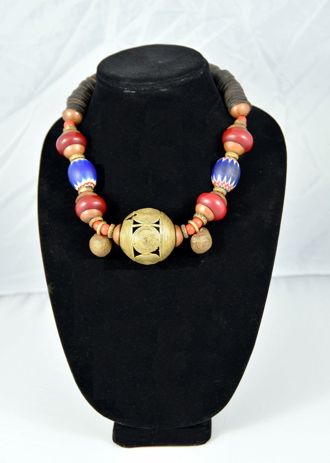 Swirl Ball Brass Bead Necklace