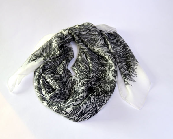 Whisper Weight Black Silk-chiffon Scarf - Inspired Luxe