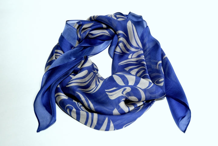 Whisper Weight Blue Silk-chiffon Scarf - Inspired Luxe