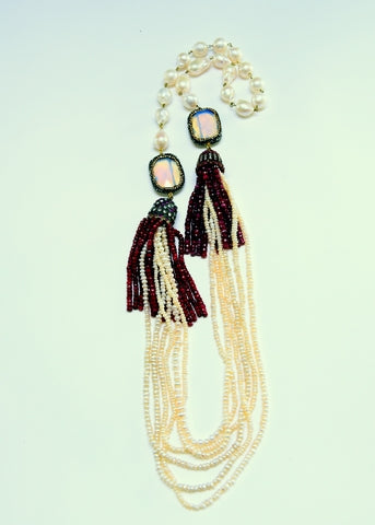 Double Tassel Coral Dangle with Mother of Pearl Necklace - Inspired Luxe