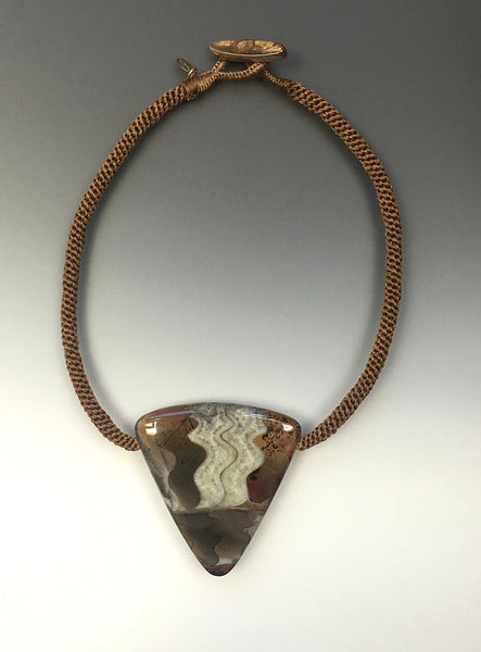 Fossilized ammonite, hand woven cord, jasper toggle button - Inspired Luxe