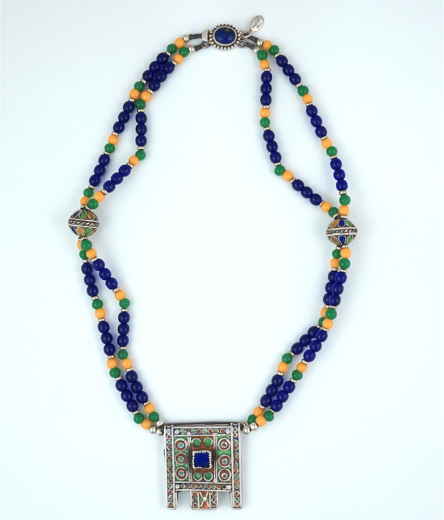 MOROCCAN ENAMELED SILVER  AMULET PENDANT