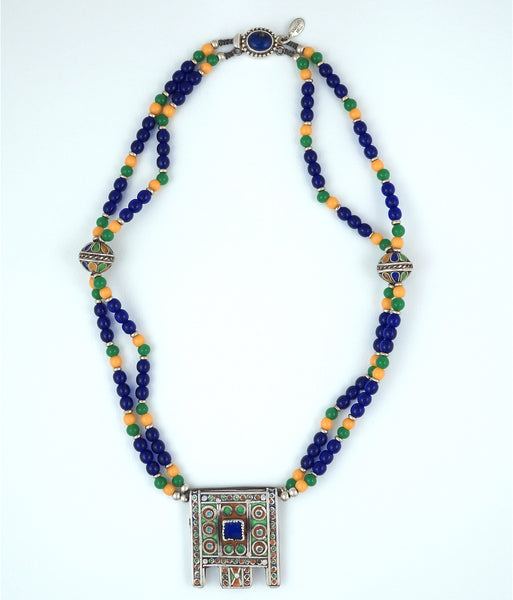 MOROCCAN ENAMELED SILVER  AMULET PENDANT - Inspired Luxe