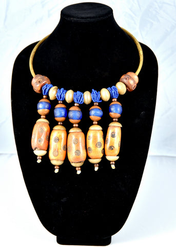 Brass and Carved Bone Necklace