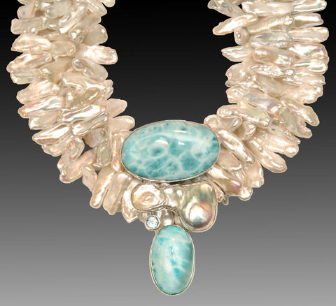 NEW White Stick Pearls with Blue Topaz Pendant