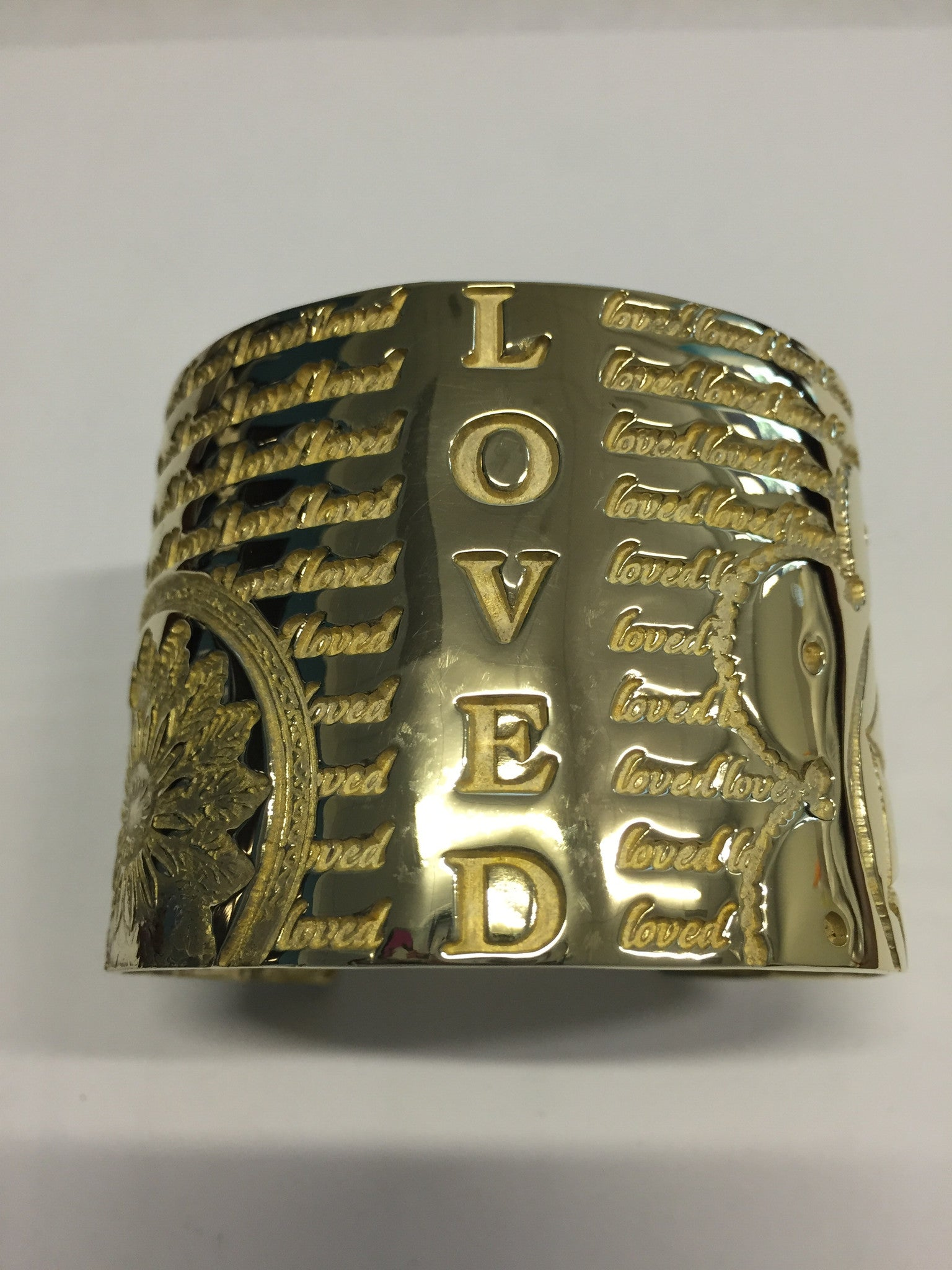 Decorative LOVED Cuff (Brass) - Inspired Luxe