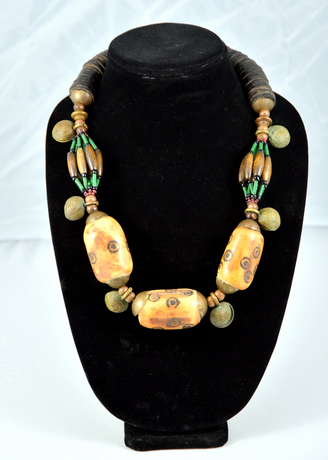 Carved Cow Bone Bead and Antique Brass Necklace