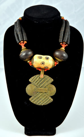 Brass Antique Pendant and Bone Bead Necklace