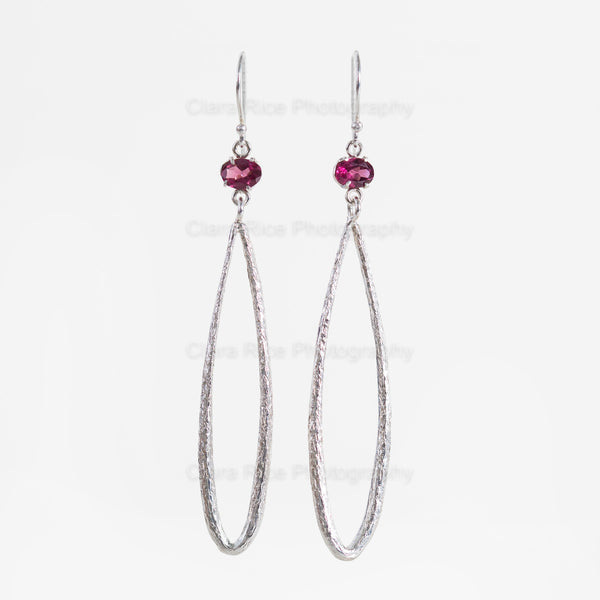 Silver Drop Garnet Earrings
