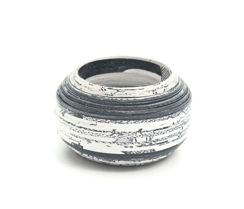 Bangle Coiled Round  - Black & White - Inspired Luxe