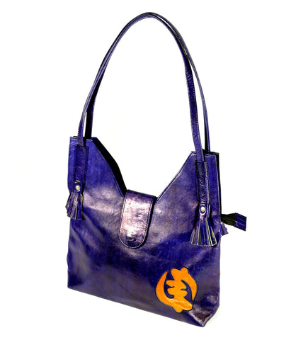 Royal Purple Leather Purse with Gye Nyame Design