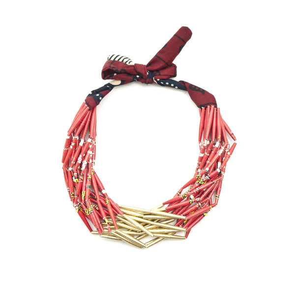 Fabric Necklace - Open Half Gold